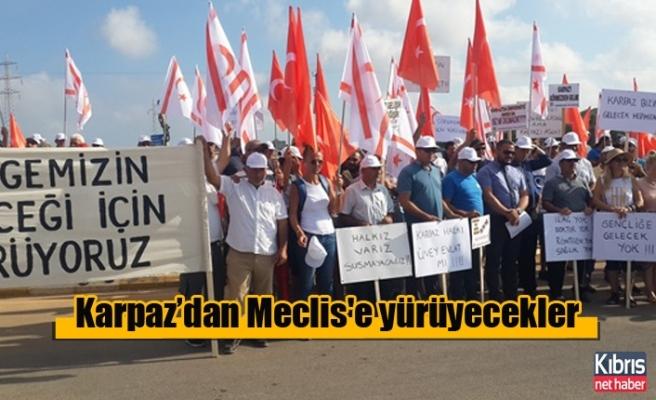 Karpaz halkı sorunlara dikkat çekmek için Meclis'e yürüyor