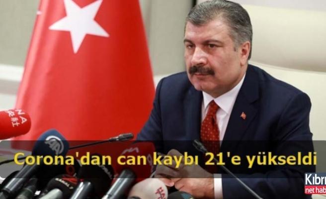 Türkiye'de Corona'dan can kaybı 21'e yükseldi