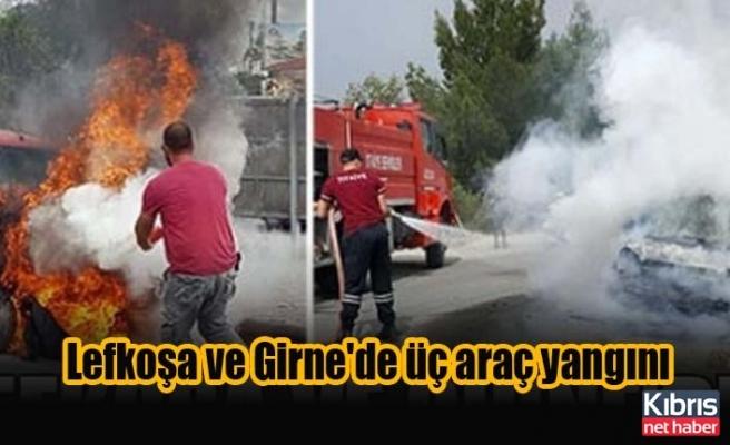 Lefkoşa ve Girne'de üç araç yangını