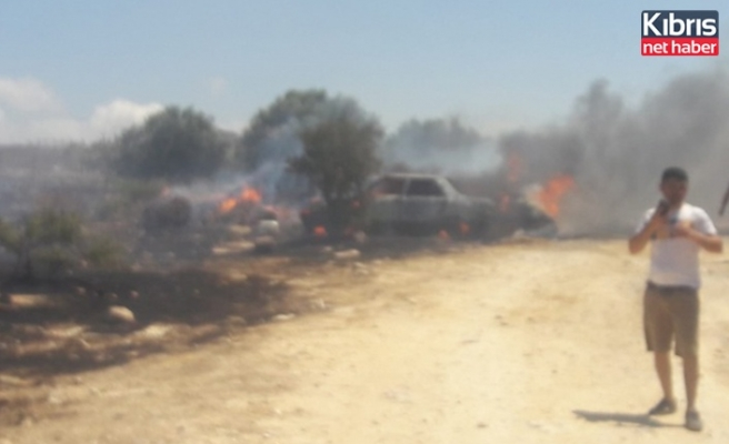 Kalkanlı'da bir kişi kaynak yaparken atılan kıvılcımlar yangına yol açtı