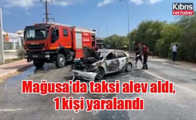 Mağusa'da taksi alev aldı, 1 kişi yaralandı