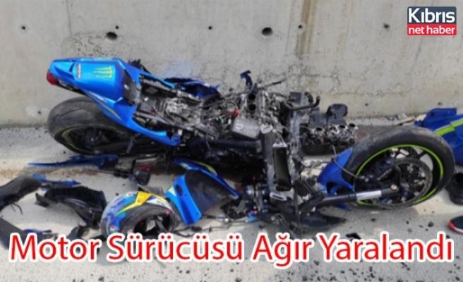 Motor Sürücüsü Ağır Yaralandı