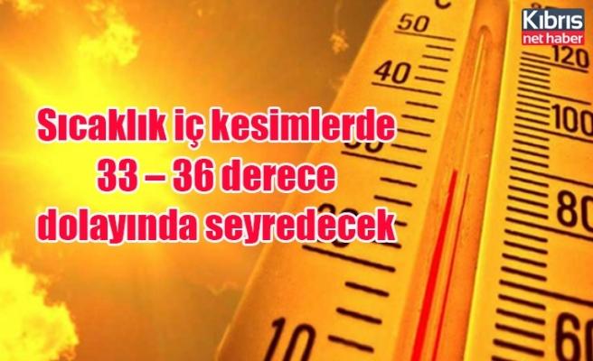 Sıcaklık iç kesimlerde 33 – 36 derece dolayında seyredecek