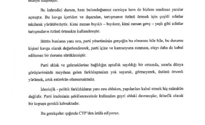 CTP'de şok istifa