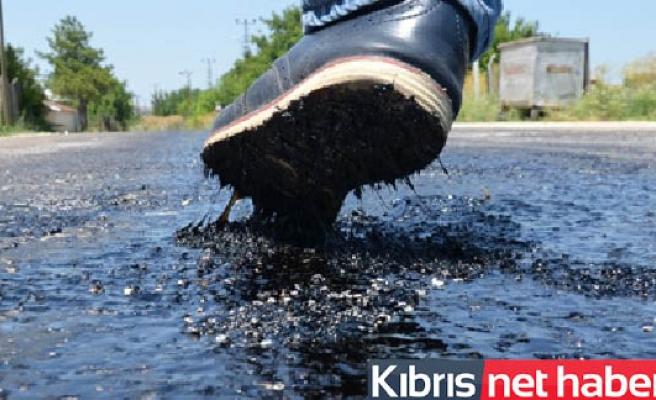 Sıcak hava asfaltı eritti