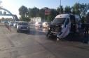 Fuar kavşağında ambulansla kamyon çarpıştı