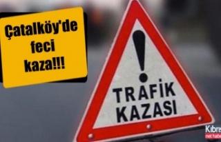Çatalköy'de feci kaza, kamyon ve minibüs çarpıştı