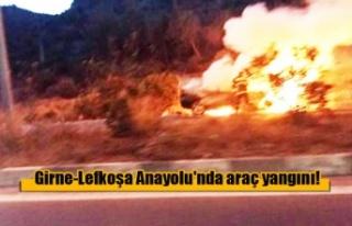 Girne-Lefkoşa Anayolu'nda araç yangını!