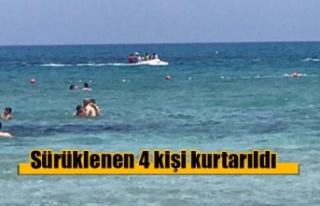 Deniz bisikleti ile sürüklenen 4 kişi kurtarıldı