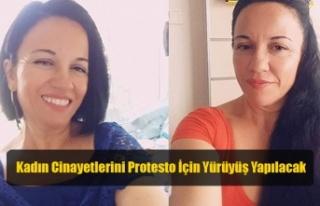 Girne'de Kadın Cinayetlerini Protesto İçin Yürüyüş...