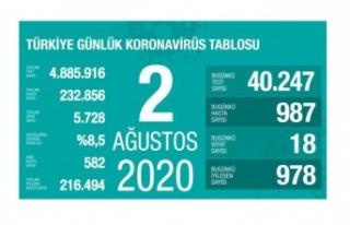 Türkiye'de son 24 saatte 978 hasta iyileşti, 18...