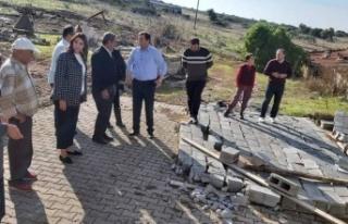 Baybars, hortumlardan zarar gören Ozanköy ve Sadrazamköy'ü...