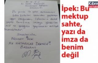 İpek: Bu mektup sahte, yazı da imza da benim değil