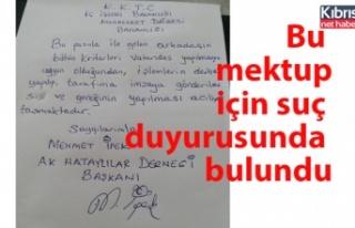 Mehmet İpek, mektupla ilgili suç duyurusunda bulundu