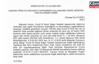 PCR kitleri için Türkiye'ye 292 bin dolar ödenecek