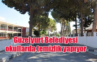 Güzelyurt Belediyesi okullarda temizlik yapıyor