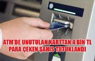 ATM'de unutulan karttan 4 bin TL para çeken şahıs...