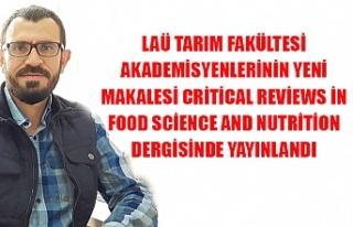 LAÜ tarım fakültesi akademisyenlerinin yeni makalesi...