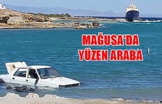 Mağusa'da yüzen araba