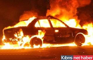 Girne'de Araç Yangını