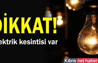 Lefkoşa'da Bazı Bölgelerde Yarın Elektrik Kesintisi...