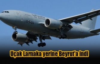 Uçak Larnaka yerine Beyrut'a indi