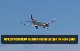 Türkiye'deki KKTC vatandaşlarını taşıyan ilk uçak geldi