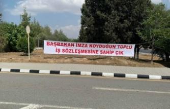 BAY-SEN BRTK'da eylem başlattı… sendika kurum girişine pankart astı