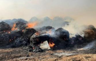 İncirli'deki yangında 200 balya ve 25 ton arpa yandı