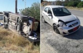 Çatalköy-Esentepe yolunda bir araç yoldan çıkarak yan yattı
