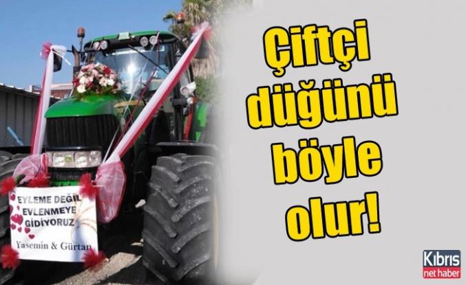 Çiftçi düğünü böyle olur! Traktör gelin arabası