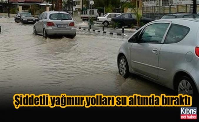 Larnaka bölgesinde şiddetli yağmur yolları su altında bıraktı