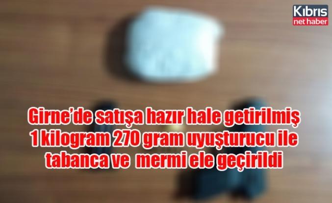 Girne'de satışa hazır hale getirilmiş 1 kilogram 270 gram uyuşturucu ile tabanca ve  mermi ele geçirildi