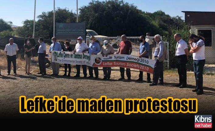 Lefke'de maden protestosu
